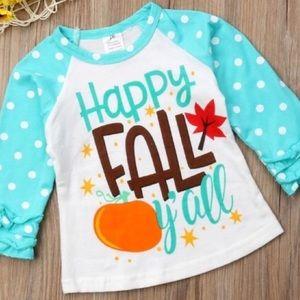Other - Happy Fall Y'all Ruffle Baseball T Shirt